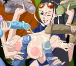 1girl anime balls breasts cum cumshot group_sex handjob nico_robin nipples one_piece paizuri penis