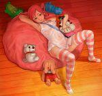 1girl bear crocodile digimon dog legs pink_eyes pink_hair pink_panties pink_stockings rabbit rindou_akiho toy toys wet wet_clothes