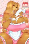 1girl 1girl 2018 absurd_res amber_eyes anthro apron big_breasts black_nose breasts cake canine cherrikissu clothing digital_media_(artwork) dog dogmom food frosting furry hair high_res huge_breasts long_hair looking_at_viewer mammal one_eye_closed saluki thick_thighs tongue tongue_out wink
