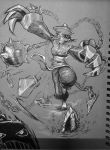 1girl capcom cleavage cleavage_cutout cutesexyrobutts darkstalkers hsien-ko one_leg_up shiny shiny_skin short_hair sketch