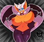 1girl 1girl anthro areola bat big_breasts breasts clothing digital_media_(artwork) furry hair huge_breasts looking_at_viewer mammal navel navel_piercing nipples pelao0o piercing rouge_the_bat sega smile