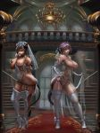 2_girls abs animal_ears animal_tail areola black_hair breasts bride corset cutesexyrobutts dark-skinned_female dark_skin elbow_gloves final_fantasy final_fantasy_xiv garter_belt garter_straps high_heels nipples original panties purple_hair shiny shiny_skin skindentation standing stockings thick_thighs thighs toned white_clothes white_panties wide_hips
