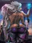 1girl 1girl 4_arms ass big_breasts breasts cutesexyrobutts dark-skinned_female dark_skin fingerless_gloves large_ass long_hair monster_girl mutant original pointy_ears sideboob very_long_hair white_hair wide_hips