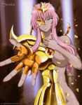 1girl armor big_breasts blue_eyes broken_armor covering_breasts crying looking_at_viewer nude_female pink_hair saint_seiya saint_seiya_omega scorpio_sonia shoulder_armor tan_skin tiara