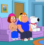 brian_griffin chris_griffin erect_nipples family_guy glasses huge_breasts meg_griffin topless