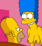 breasts erect_nipples homer_simpson marge_simpson smile the_simpsons topless