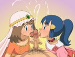 2girls blowjob blue_eyes blue_hair bow breasts brown_hair cfnm choker clothed cum cum_explosion cum_on_face dawn_(pokemon) fellatio handjob may_(pokemon) necklace oral oral_sex pokemon_(anime) pov pubic_hair threesome tongue veil