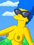 breasts marge_simpson nipples sunglasses the_simpsons topless wvs