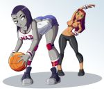 ass basketball breasts dat_ass dc_comics edit female_only looking_back nipples raven_(dc) ravenravenraven sportswear starfire tagme teen_titans topless yoga_pants yuri