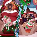 1girl anthro balls big_balls breasts christmas collar cum cum_drip cum_on_penis dickgirl dickgirl/female dominant_pov dripping drooling duo erection first_person_view furry hat holidays humanoid_penis hyena intersex intersex/female licking mammal mistletoe multiple_images nipples octopoodle open_mouth oral penis penis_lick plant pubes saliva santa_hat sex smile submissive submissive_pov tongue tongue_out