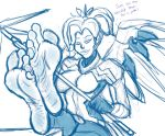 1girl dialogue feet foot_focus human looking_at_viewer mercy_(overwatch) overwatch sketch soles text toes zp92