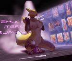 1girl 1girl anthro breasts collar digimon dildo e621 furry kansyr masturbation nipple_piercing nipples penetration piercing renamon sex_toy tattoo technology tongue tongue_out vaginal vaginal_penetration wide_hips