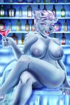 1girl 1girl 2018 alcohol anthro bear beverage big_breasts breasts colored_nails crossed_legs digital_media_(artwork) eyeshadow fangs fur furry ice looking_at_viewer makeup mammal mtapartstuff nipples nude polar_bear purple_eyes slightly_chubby smile teeth thick_thighs vera_korzynski white_fur