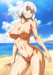 1girl 1girl 1girl big_breasts breasts completely_nude erect_nipples killing_bites navel nipples nude nude_filter orange_eyes photoshop pussy short_hair smile summer uzaki_hitomi white_hair
