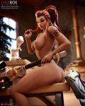 3d artist_name ass beer_stein big_breasts breasts brigitte_lindholm brown_eyes brown_hair completely_nude eichenwalde_(map) fireboxstudio gears high_resolution long_hair mace nipples nude overwatch patreon_logo patreon_username ponytail shield shoulder_tattoo smile straddling tattoo tavern tied_hair very_high_resolution weapon web_address