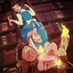 1girl barefoot beauty_and_the_beast book brown_eyes cogsworth disney feet foot_fetish foot_focus long_dress lumiere_(beauty_and_the_beast) princess_belle scamwich scamwich_(artist) short_hair soles toes