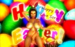 1girl 3d background breasts bunny_ears chocker chocolate closed_eyes easter easter_eggs erect erect_penis erection eyebrows eyelashes eyeliner eyes female female_human female_only futanari headband headwear human human_only large_breasts lips lipstick nipples nude nude_female penis posing purple_hair render short_hair solo solo_female soria testicles text xnalara xps