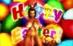 1girl 3d background breasts bunny_ears chocker chocolate closed_eyes cock dick easter easter_eggs eyebrows eyelashes feet female female_human female_only futanari headband headwear human human_only large_breasts legs lips lipstick nipples nude nude_female on_knees penis posing purple_hair render short_hair solo solo_female soria testicles text xnalara xps