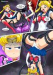 2_girls :o anime bishoujo_senshi_sailor_moon blonde_hair blue_eyes breasts chuchu3535 comic earrings panties pussy queen_beryl red_boots red_eyes red_hair sailor_moon skirt_lift testicles_grab tsukino_usagi usagi_tsukino