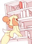 >_< 1girl 1girl 1girl anus blush book bookshelf completely_nude diives doubutsu_no_mori female_only female_solo furry gif high_resolution nude pussy reaching shizue_(doubutsu_no_mori) tail tail_wagging white_background yellow_fur