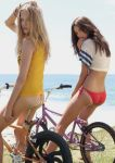 2girls ass bike cute hair looking_at_viewer sweet