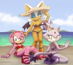 3_girls amy_rose bat bat_wings big_ears bikini blaze_the_cat blush cat feline hat hedgehog high_heels long_tail nancher navel pink_fur purple_fur rouge_the_bat sonic_(series) white_fur wink