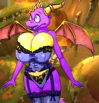 1girl 1girl big_breasts breasts dragon panties purple_skin scalie spyro spyro_the_dragon stockings swamp tail thick_thighs underwear video_games voluptuous