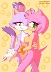 1girl amy_rose anthro ass blaze_the_cat bracelet breast_squish breasts breasts_frottage cat cute dipstick_tail duo feline female/female furry green_eyes hand_behind_back hand_on_hip hedgehog jewelry looking_at_viewer looking_back mammal mostly_nude multicolored_tail pinup pose sega side_boob simple_background smile two_tone_body whygena yellow_background yellow_eyes