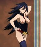 1girl 1girl 1girl areola belt blue_eyes blue_hair bracelet eyebrows_visible_through_hair high_resolution jewelry long_hair looking_at_viewer midnight_(boku_no_hero_academia) my_hero_academia nipples nude_filter one_eye_closed photoshop pubic_hair pussy screen_capture smile standing very_high_resolution