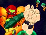 1girl 5_toes digital_media_(artwork) feet foot_fetish foot_focus group human mammal metroid nintendo not_furry plantigrade quintonquill samus_aran soles solo_focus toes video_games