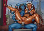 1boy 2_girls aayla_secura ahsoka_tano alien anal anal_insertion breasts imminent_vaginal interspecies lesbian lightsaber masturbation mostly_nude nihaotomita pussy spread_legs star_wars strap-on togruta twi'lek yoda yuri