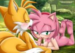 """amy_rose barefoot bbmbbf big_breasts blush lick looking_at_viewer miles_""""tails""""_prower mobius_unleashed palcomix sega soles tits toes veins"""