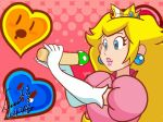 blonde_hair blowjob blue_eyes cum cum_in_mouth cum_inside earrings handjob lipstick nintendo penis princess_peach super_mario_bros. super_princess_peach webm