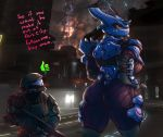 1girl alba_(character) armor ass big_ass english_text gun halo_(series) helmet high_res human jiralhanae larger_female looking_back mammal odst ranged_weapon rube size_difference text the_rookie_(character) thick_thighs video_games weapon wide_hips