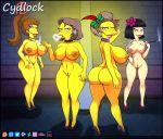 ass cydlock dat_ass edna_krabappel high_heels huge_breasts huge_nipples looking_over_shoulder pussy smoking the_simpsons thighs wink