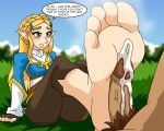 1girl barefoot breath_of_the_wild cum cum_on_feet cum_on_soles erection feet footjob male mostlyfunstuff penis pov_feet presenting_feet princess_zelda soles the_legend_of_zelda toes
