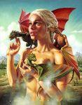 1girl artist blonde blonde_hair daenerys_targaryen dragon dragons game_of_thrones looking_up outside public public_nudity