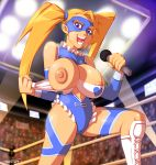 1girl big_breasts blonde_hair blue_eyes cameltoe domino_mask flashing nipples public_nudity rainbow_mika street_fighter wrestling_outfit wrestling_ring