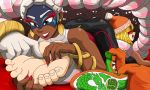 1girl arms_(game) audience barefoot blonde_hair dark-skinned_female dark_skin duo feet foot_fetish laughing min_min mostlyfunstuff nintendo red_nails soles toes touching twintelle video_games