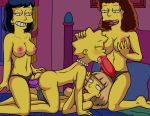 anal_penetration ass breasts dildo_in_ass dildo_in_vagina double_penetration lisa_simpson nude strap-on the_simpsons yuri