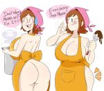 apron ass big_ass big_breasts breasts chocolate cleavage cooking_mama cooking_pot female food jinu mama_(cooking_mama) milf naked_apron nintendo nude solo