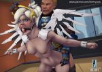 1girl ball_gag blonde_hair bound cherrysock crying mercy nipples overwatch sex standing