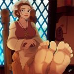 1girl 1girl barefoot disney feet looking_at_viewer milf sarah_hawkins scamwich sitting soles toes treasure_planet