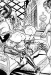 big_breasts black_and_white fetish monochrome otk over_the_knee spank spanked spanking