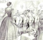3_girls black_and_white fetish monochrome otk over_the_knee spank spanked spanking