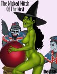 1girl ass female flying_monkeys green_skin hat looking_at_viewer nude sideboob the_wizard_of_oz wicked_witch_of_the_west