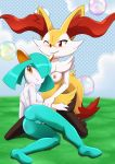 2girls anthro bbmbbf blush braixen breasts erect_nipples kirlia looking_at_viewer nipples nude pokemon pokepornlive pussy smile take_your_pick video_games wink