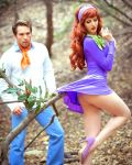 ass cosplay daphne_blake freddy_jones high_heels minidress panties scooby-doo thighs