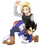 1boy 1girl 1girl android_18 ass black_hair blonde_hair butt_crack discipline domination dragon_ball dragon_ball_z exposed_ass femdom handprint male malesub over_the_knee punishment red_ass smile spanked spanking straight tears top-down_bottom-up torn_clothes torn_pants vegeta