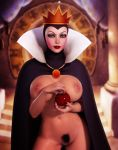 3d apple areolae big_breasts breasts cape disney female food fruit nipples nude pussy queen_grimhilde rasmus-the-owl smile snow_white_and_the_seven_dwarfs solo